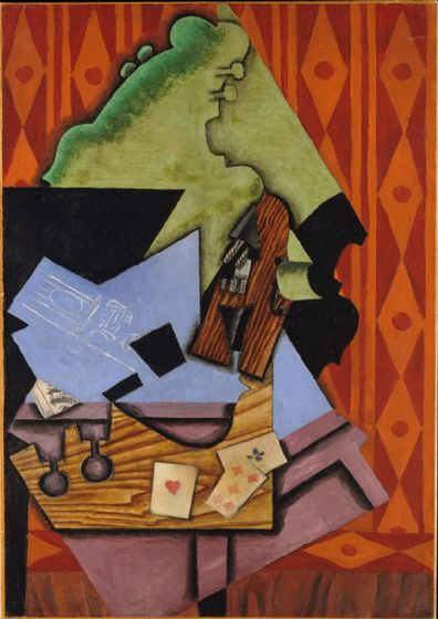 Gris, Juan: Violin and Playing Cards on a Table. Fine Art Print/Poster. Sizes: A4/A3/A2/A1 (003125)